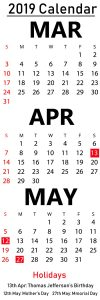 March April May 2019 Calendar Editable