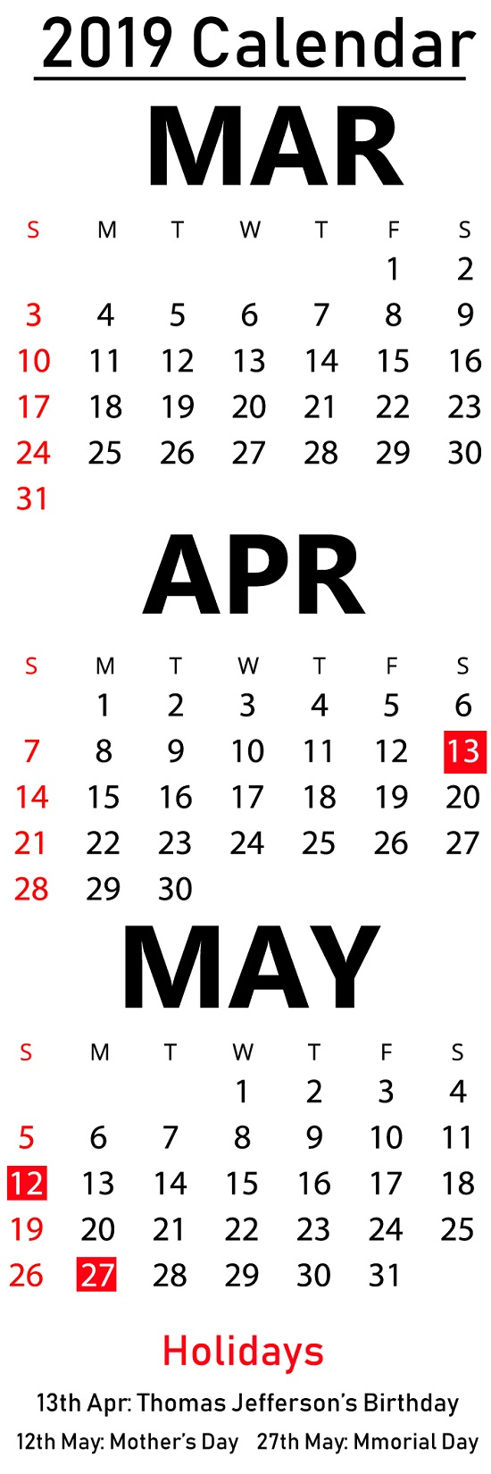 March April May 2019 Calendar Editable