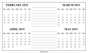 March April May 2019 Calendar PDF