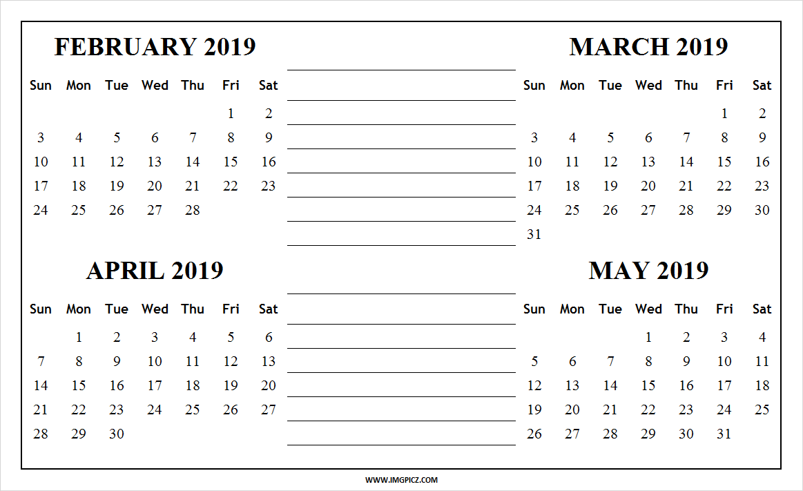 March April May 2019 Calendar PDF