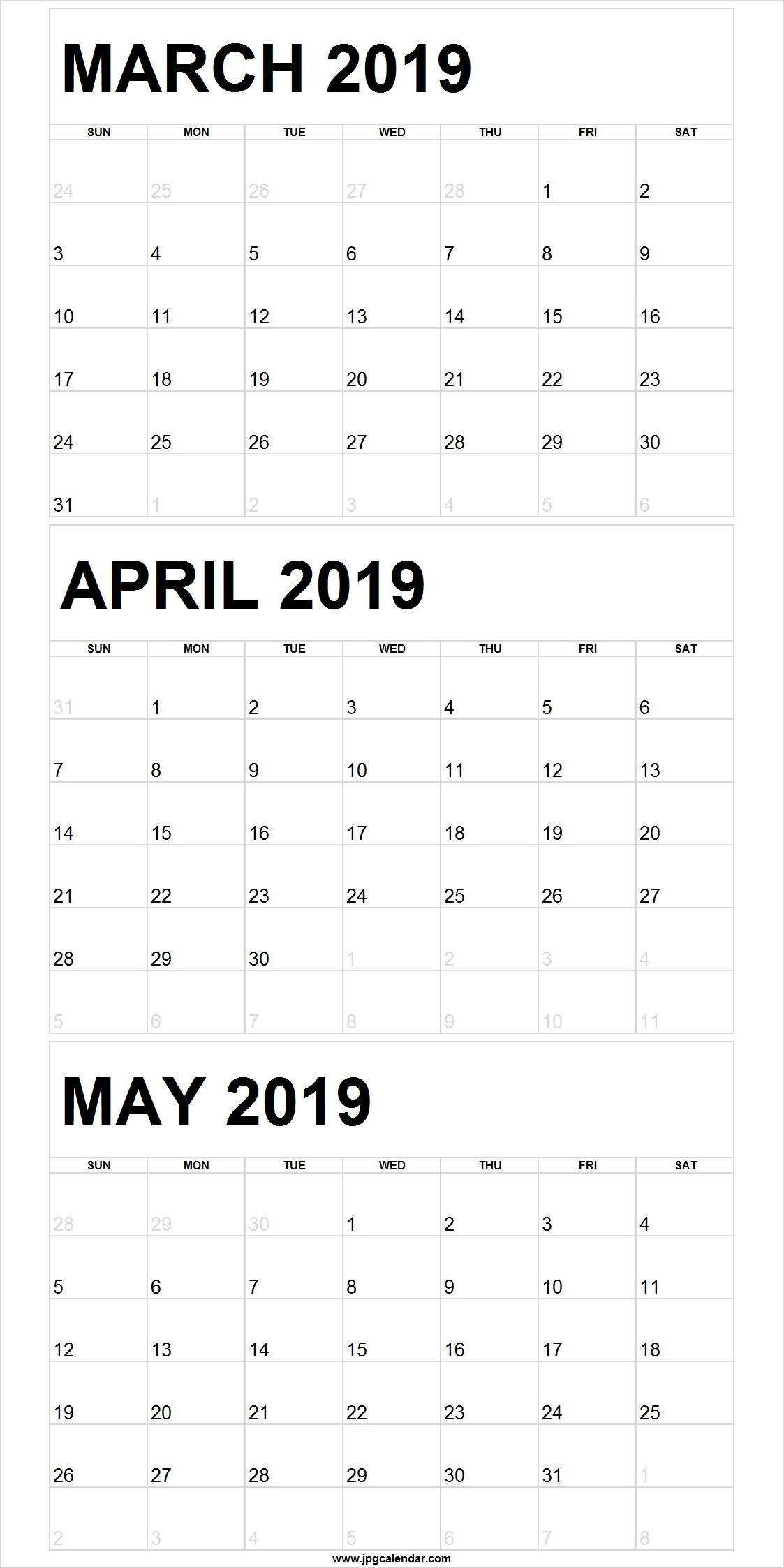 March April May 2019 Calendar Portrait
