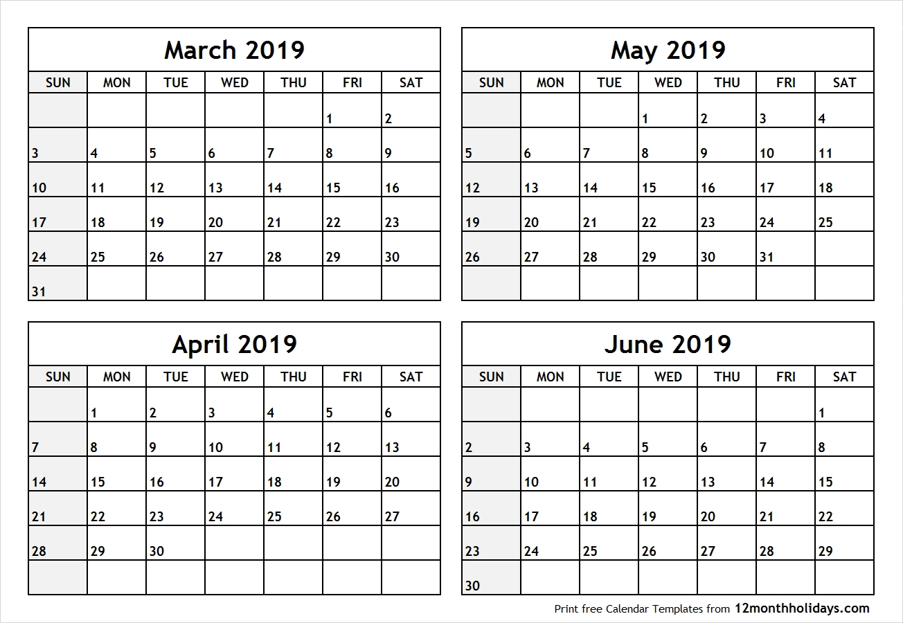 Printable Blank Four Month March April May June 2019 Calendar
