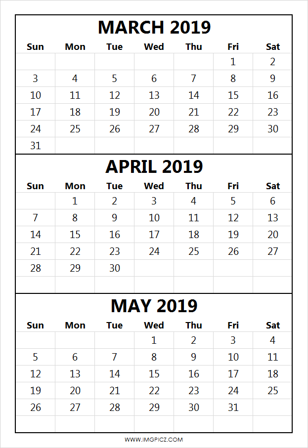 March April May 2019 Calendar Template