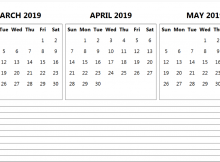 March April May 2019 Calendar With Notes