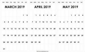March April May 2019 Calendar Word