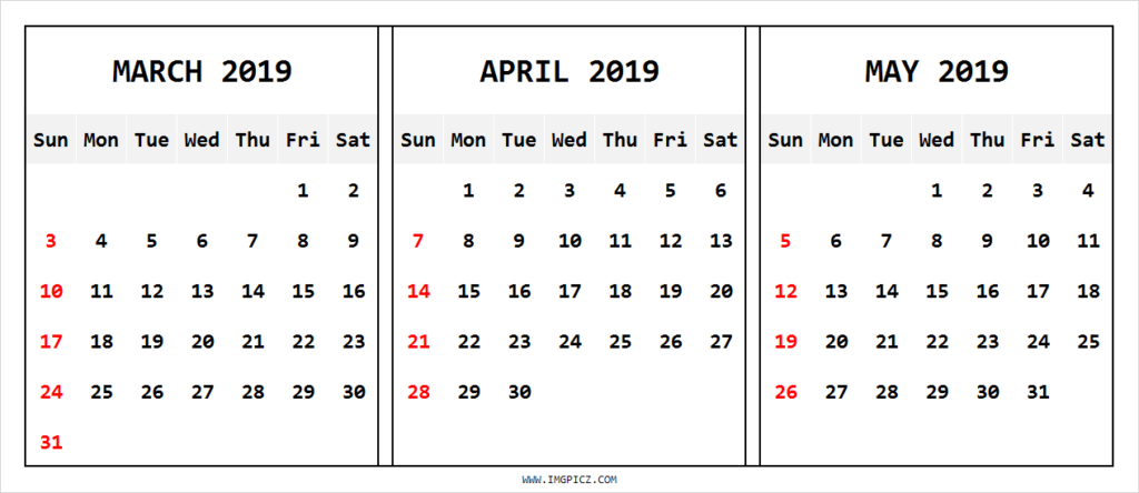 March April May 2019 Calendar