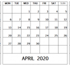 March April May 2020 Calendar