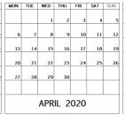 March April May 2020 Calendar