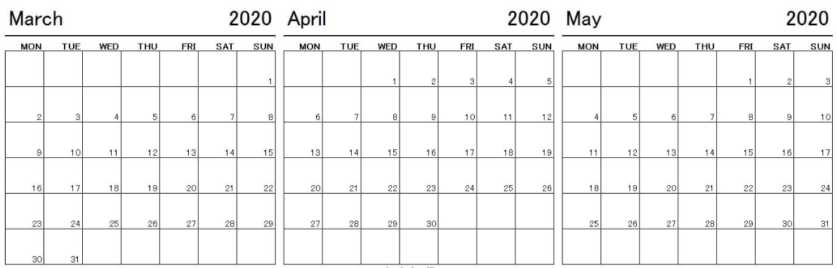 March April May 2020 Calendar Template