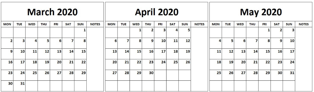 March April May 2020 Printable Calendar