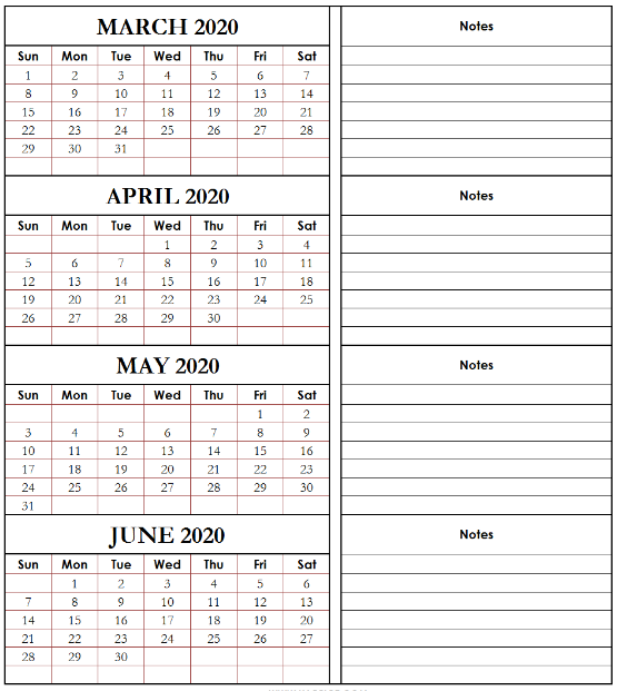 March April May June 2020 Calendar with Notes