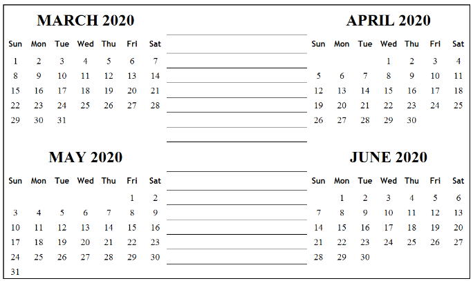 March April May June 2020 Calendar