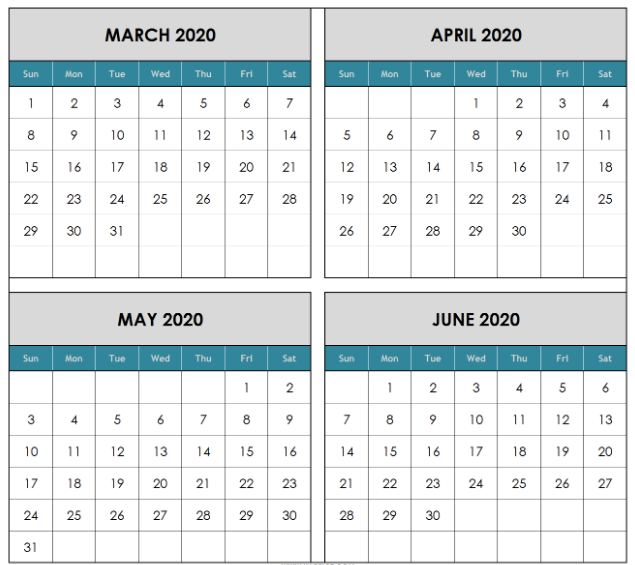March April May June Calendar 2020