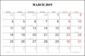 March Calendar 2019 Blank Template