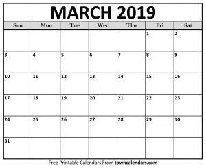 March Calendar 2019 Template