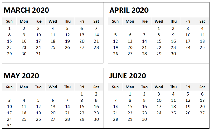 March to June 2020 Calendars