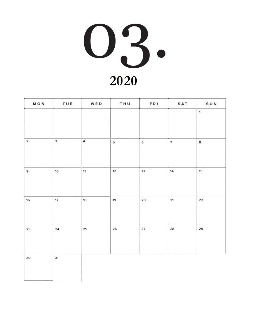 Modern Minimal March Calendar Template