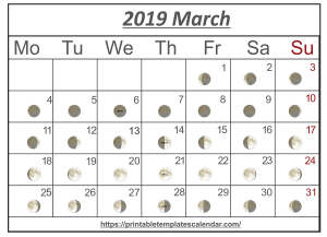 Printable March 2019 Moon Calendar