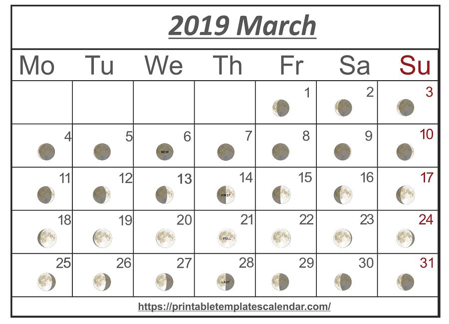 Printable March 2019 Moon Calendar