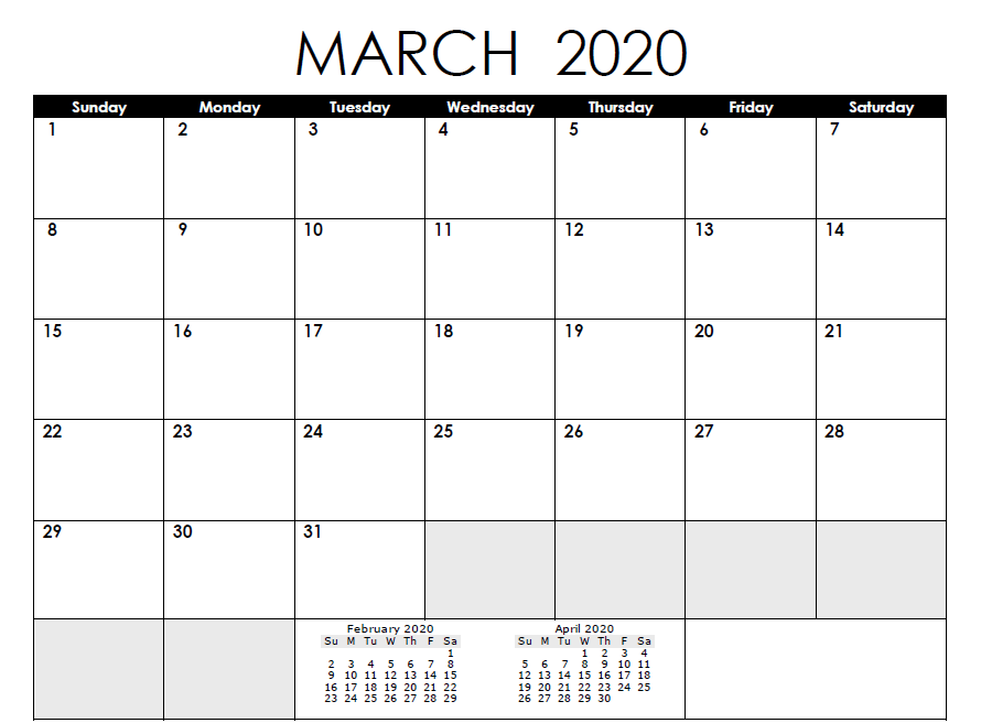 Printable March 2020 Editable Calendar