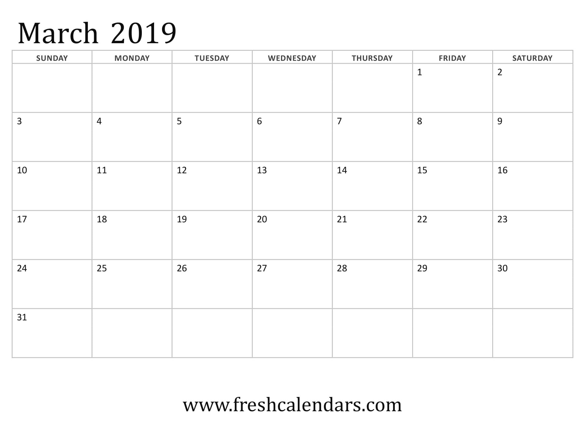 Vertex March Calendar 2019 Printable