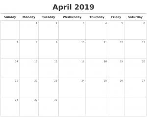 April 2019 Calendar Blank Template