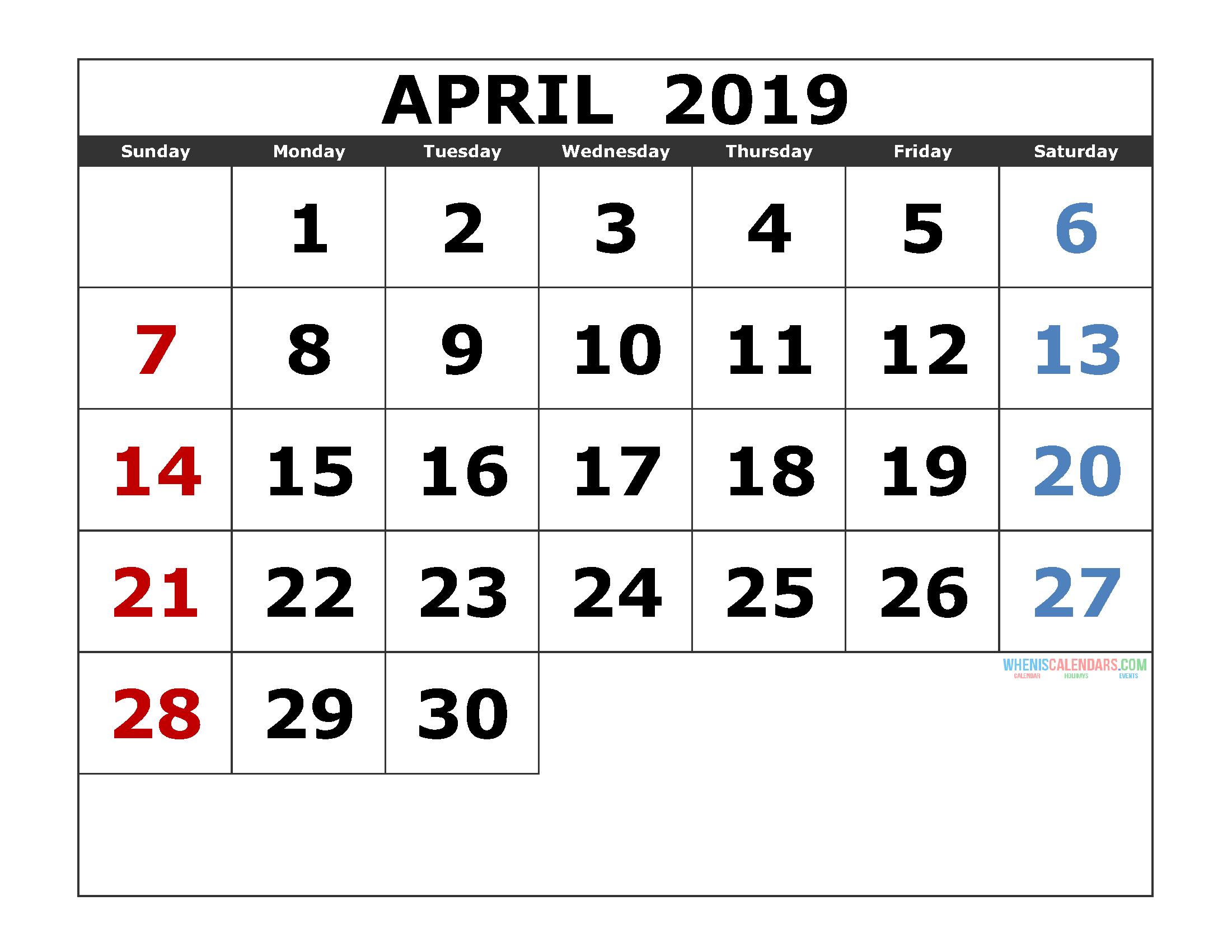 Free Calendar Printable Blank.Free Monthly Blank April 2019 Calendar Printable Template
