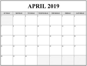 April 2019 Calendar Template Editable