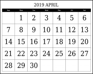 April 2019 Calendar Template Excel
