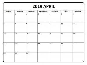 April 2019 Calendar Template Word