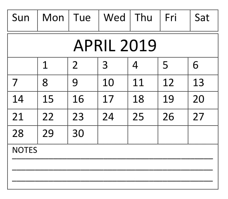 April 2019 Editable Calendar