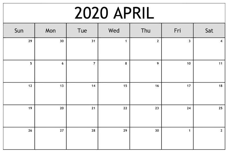 April 2020 Calendar Page Template
