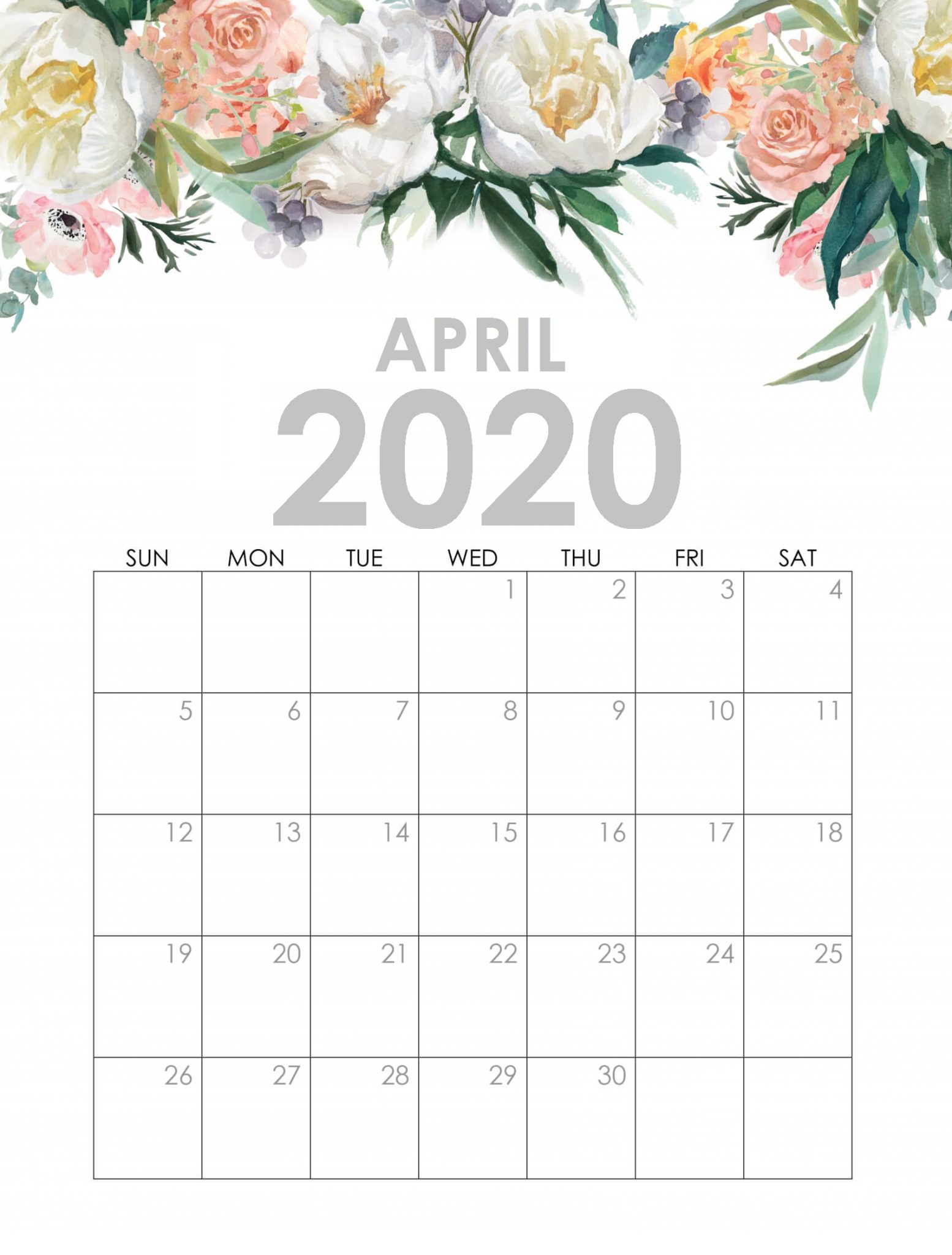 April 2020 Calendar With Flowers