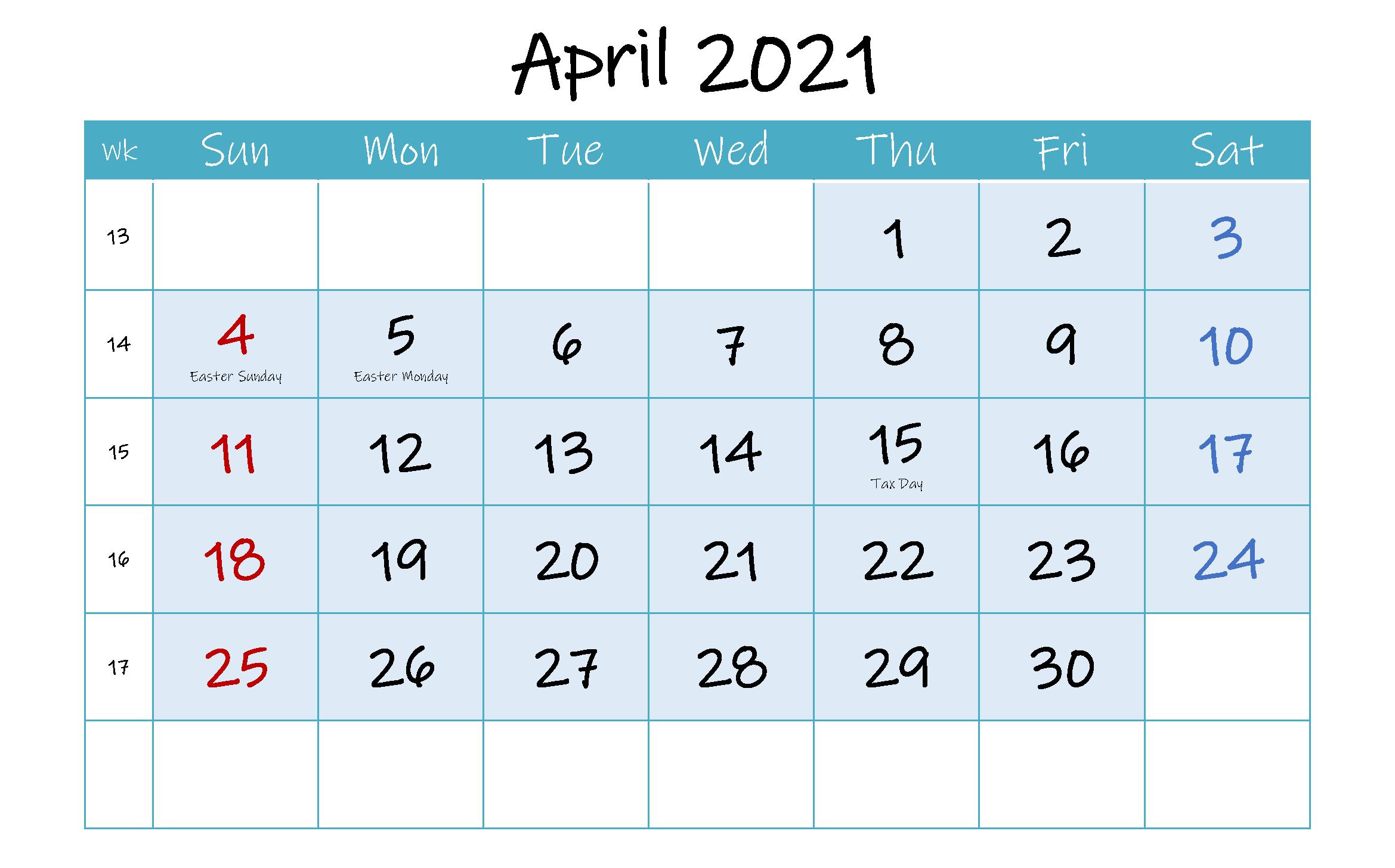 April 2021 Calendar Excel