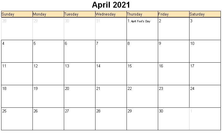 April Printable Blank Calendar 2021