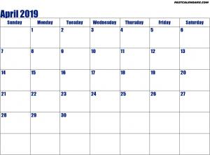 Blank April 2019 Calendar Pdf