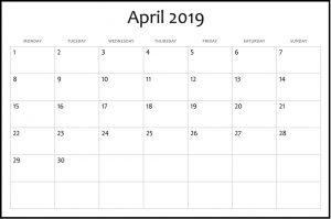 Blank April 2019 Calendar Printable