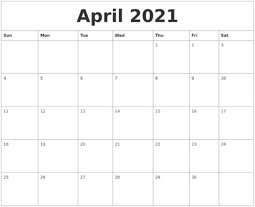 Blank April 2021 Printable Calendar Template