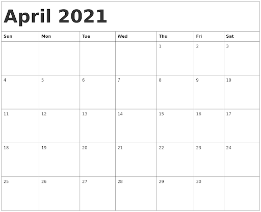 Blank April 2021 Printable Calendar