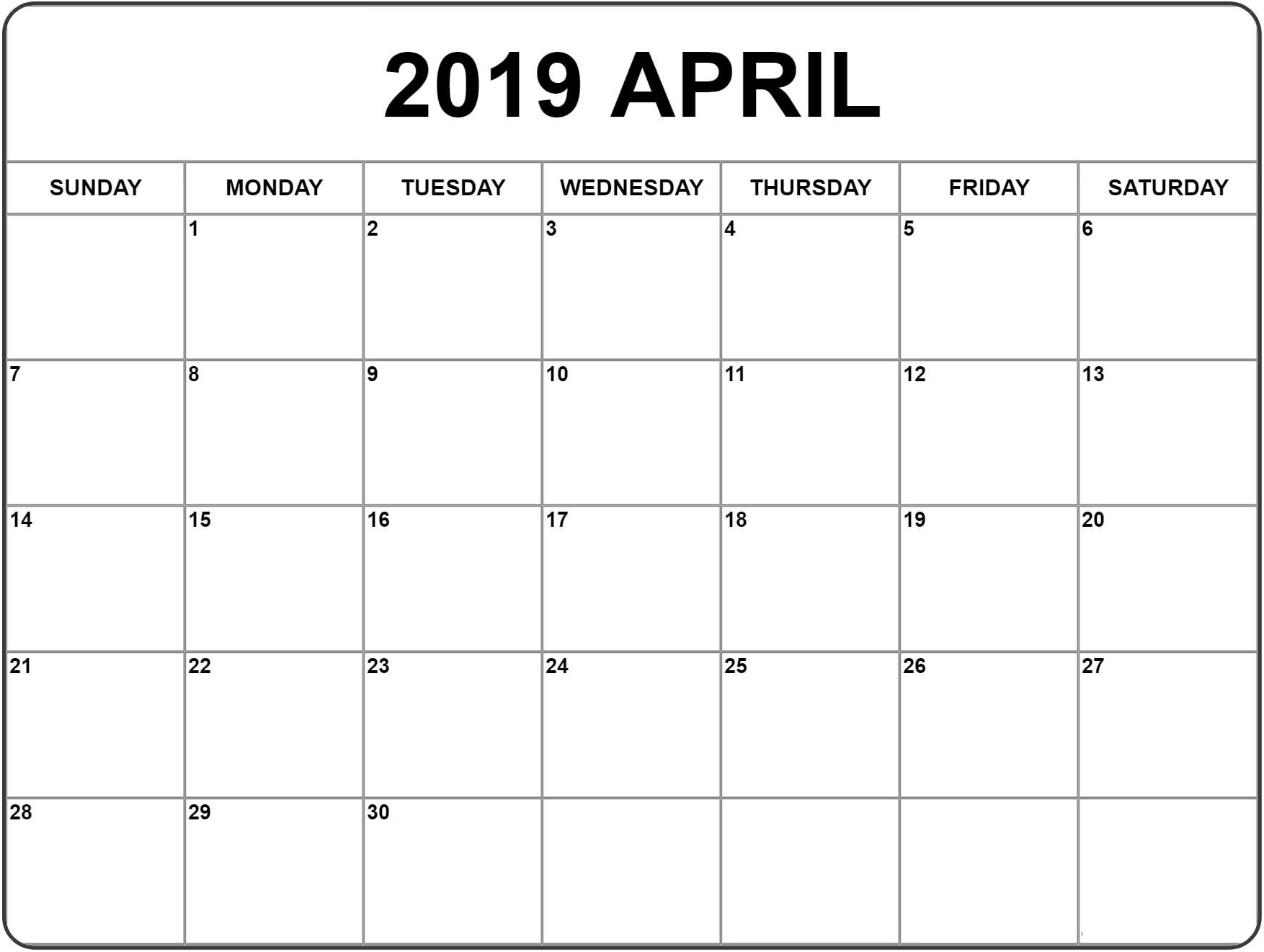 Blank Calendar Pages April 2019 Free Printable Calendar Templates