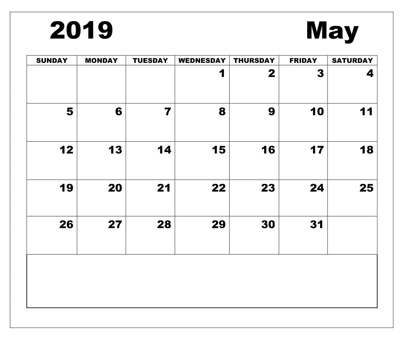 Editable May 2019 Printable Calendar Template