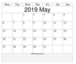 Editable May 2019 Blank Calendar Planner