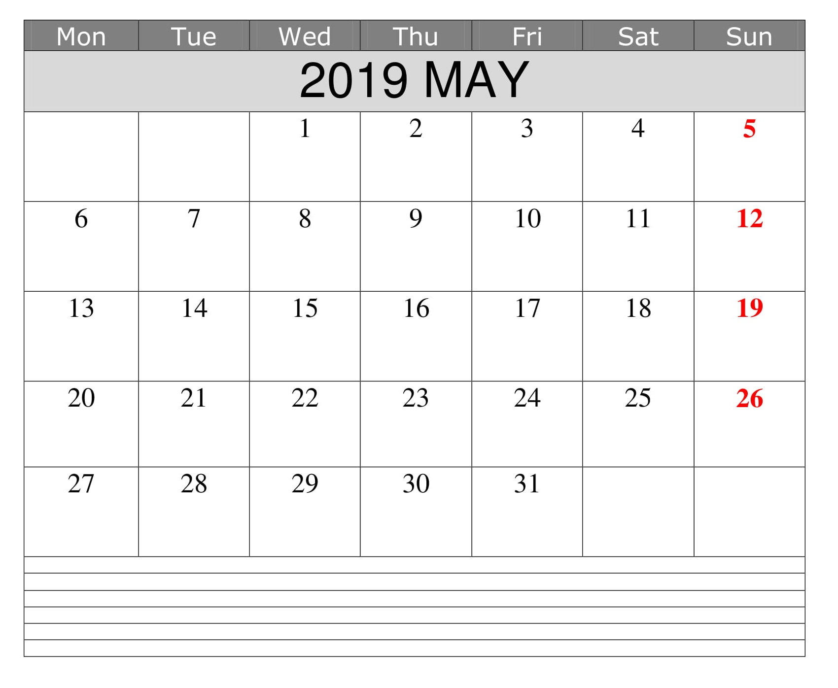 Editable Blank May Calendar Template 2019