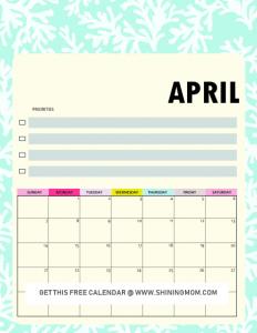 Cute April 2019 Calendar Planner