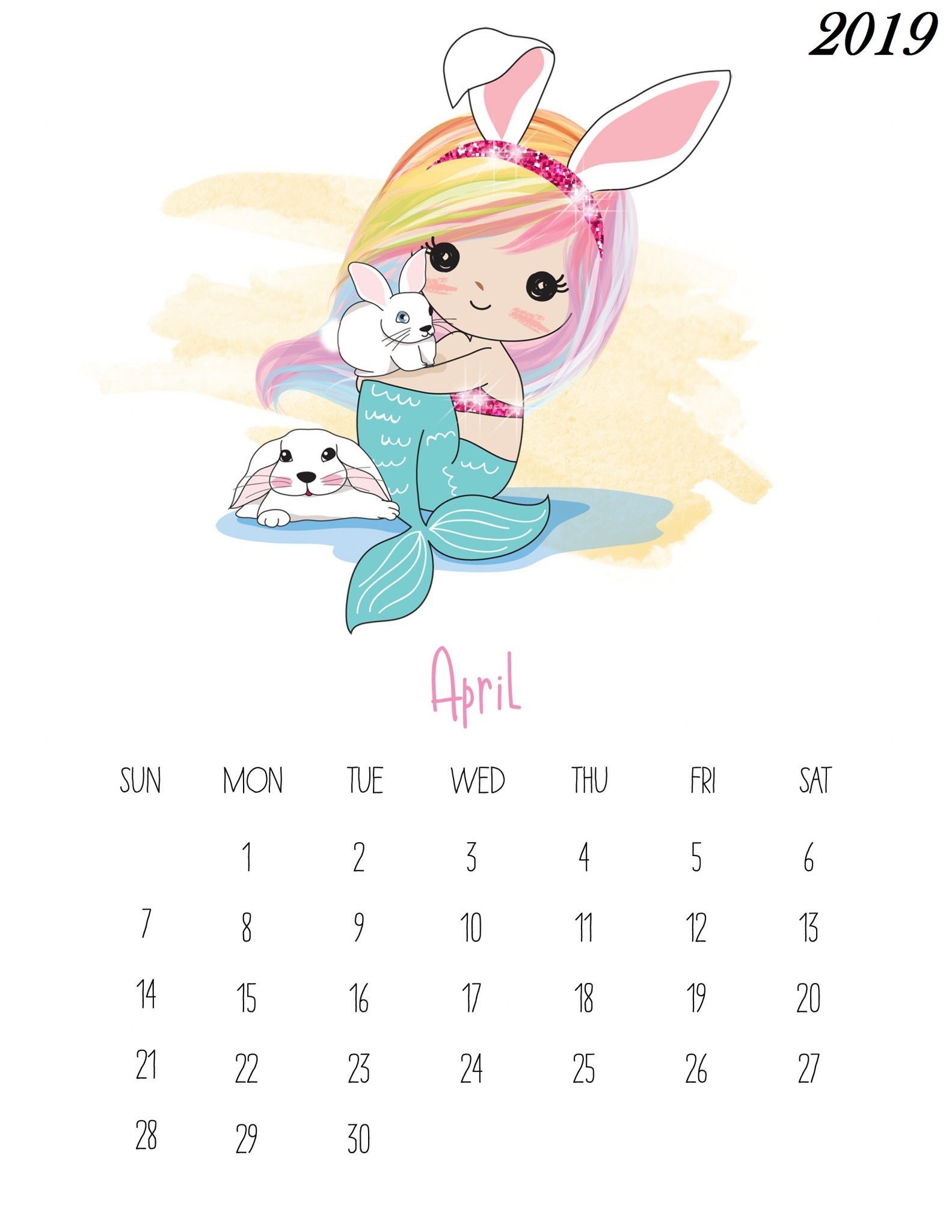 Cute April 2019 Calendar Template
