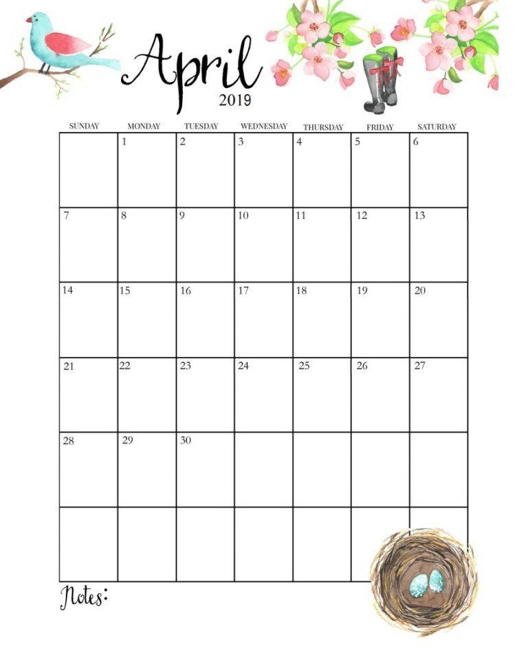 Cute April 2019 Calendar