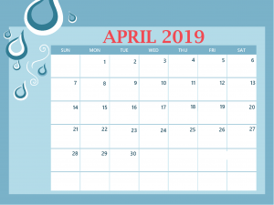 Cute April 2019 Colorful Calendar