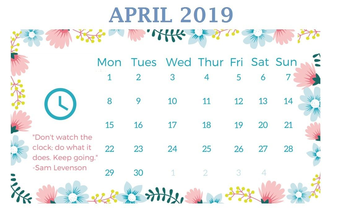 Cute April 2019 Desk Calendar