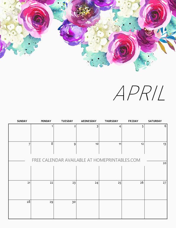 Cute April 2019 Floral Calendar