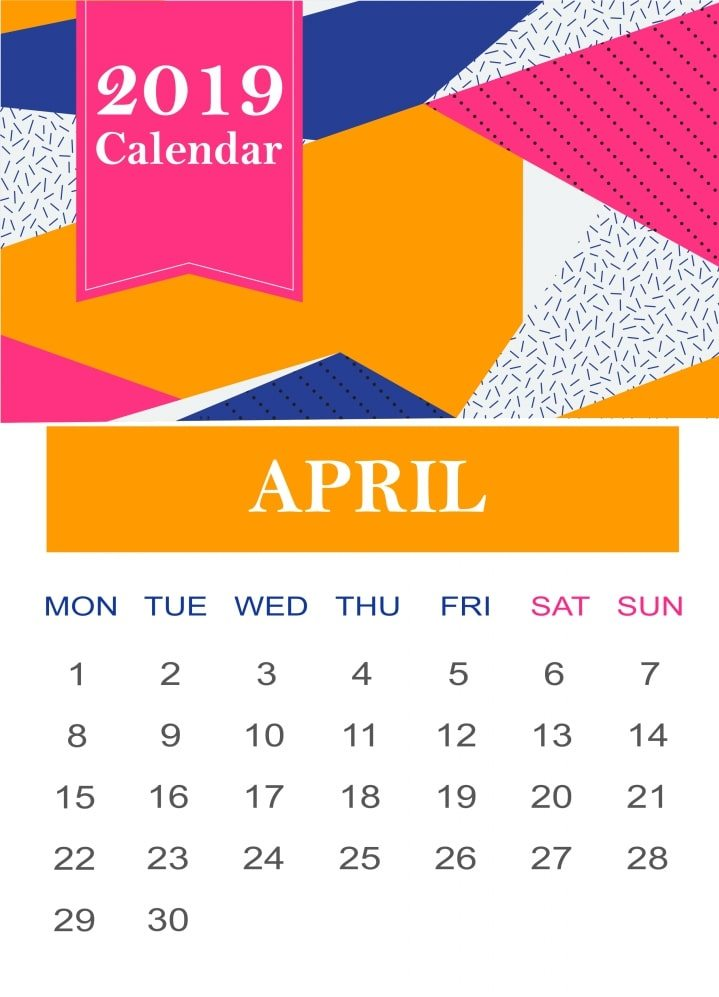 Cute April 2019 Wall Calendar